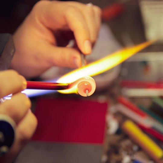 prelucrare sticla Murano la lampa