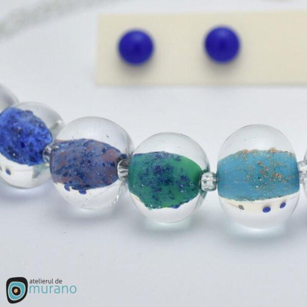 colier murano cobalt blue aventurina detaliu
