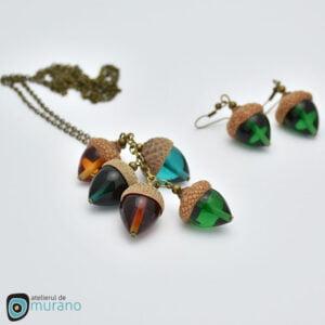 colier sticla murano smarald ghinde