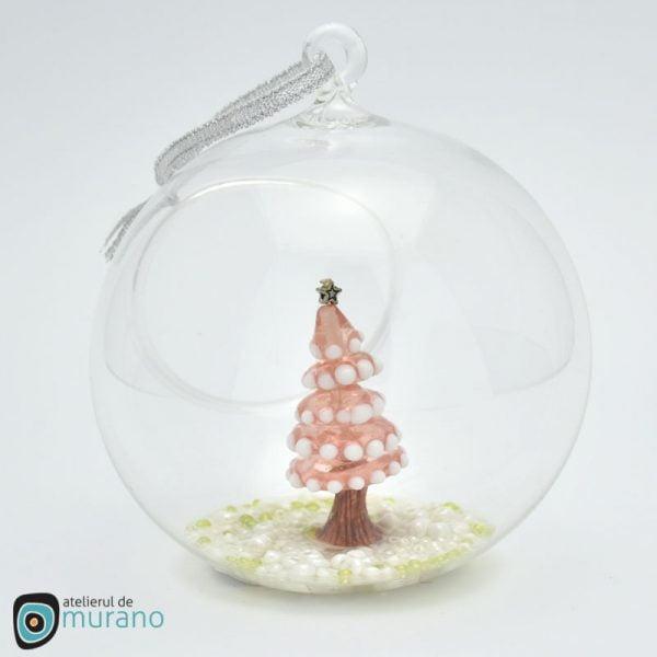 glob de craciun sticla murano cu brad roz