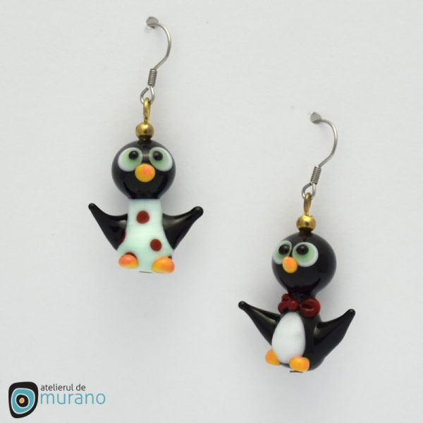 cercei murano cuplu pinguini menta