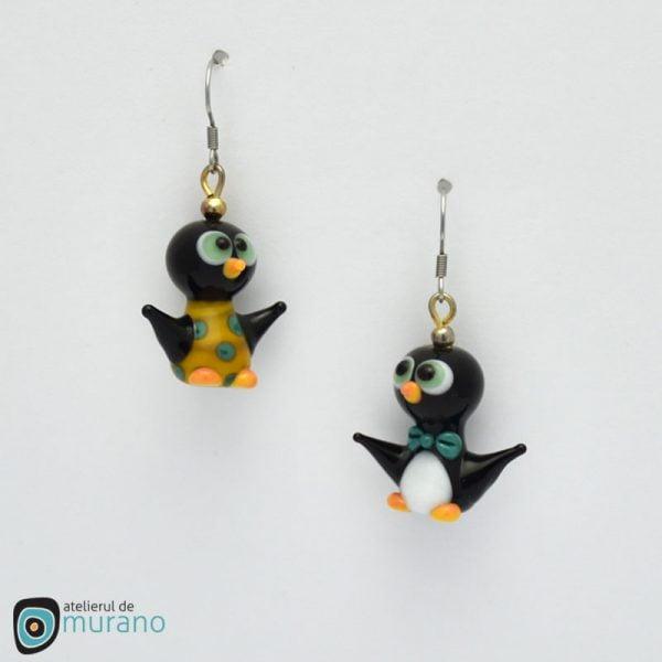 cercei murano cuplu pinguini ocru