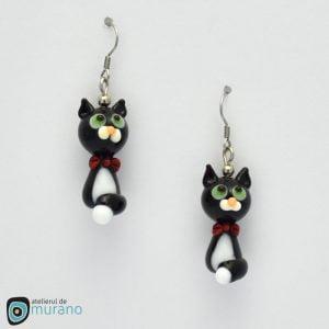 cercei murano pisici negre