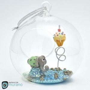 glob craciun sticla murano elefant