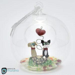 Glob de Crăciun cu Pisică și Cățel
