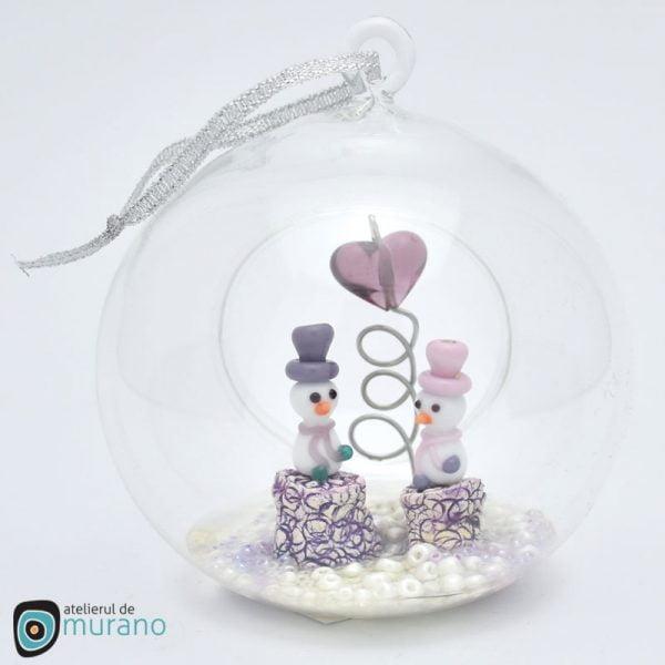 Glob de Crăciun cu Oameni de zăpadă