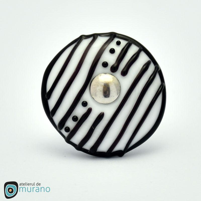 inel murano alb negru disrupted lines
