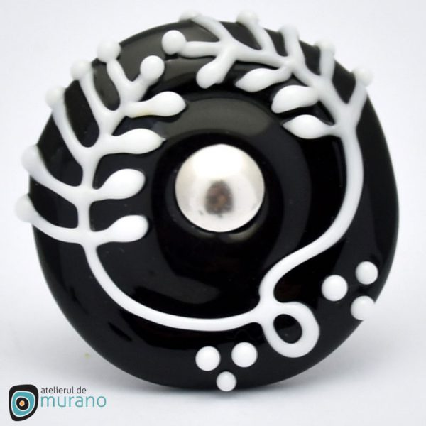 inel murano alb negru