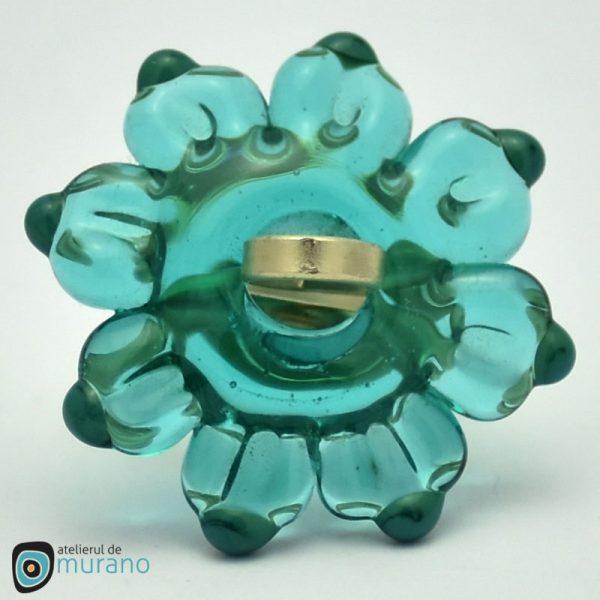 inel sticla murano floare