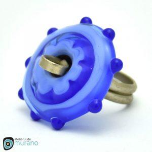inel murano albastru