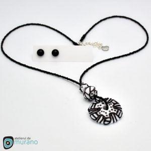 pandantiv murano white flower