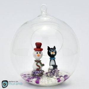 Glob de Crăciun cu Om de zăpadă și Pisică