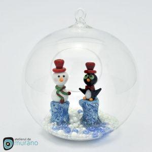 Glob de Crăciun cu Om de zăpadă și Pinguin