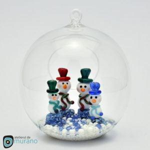 Glob de Crăciun cu 4 Oameni de zăpadă