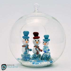 Glob de Crăciun cu 3 Oameni de zăpadă