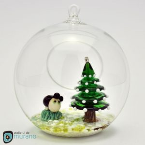 Glob de Crăciun cu Brad și Oaie