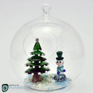 Glob de Crăciun cu Brad și Om de zăpadă