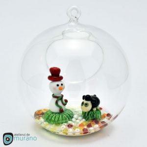 Glob de Crăciun cu Oaie și Om de zăpadă