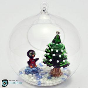 Glob de Crăciun cu Brad și Pinguin