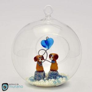 Glob de Crăciun cu 2 Cățeluși