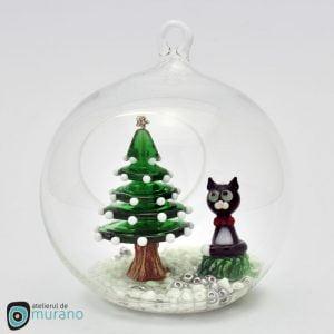 Glob de Crăciun cu Pisică și Brad