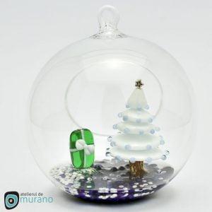 Glob de Crăciun cu Brad alb
