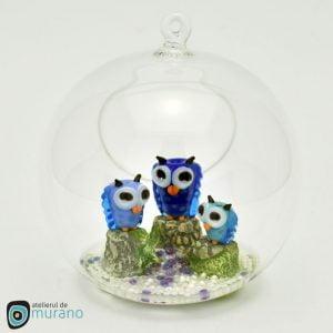 Glob de Crăciun cu Bufnițe albastre