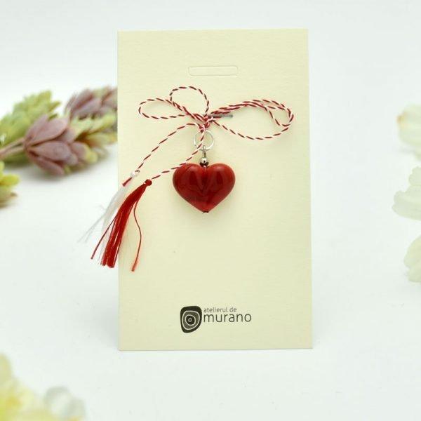 martisor murano inima rosu mat