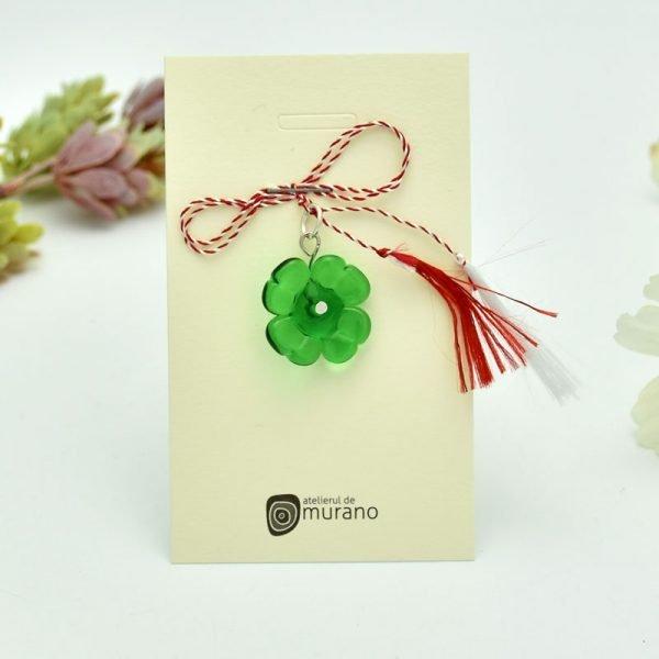 martisor murano trifoi verde smarald