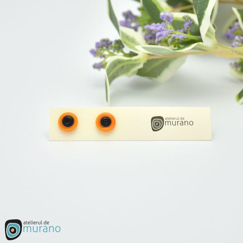 cercei murano discuri bicolori orange