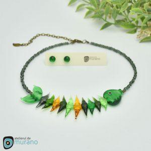 colier murano fishbone smarald